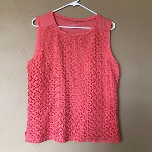 NWOT Loft Embroidered Detail Coral Tank, Size L